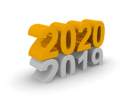 New Year 2020 concept 3d image on a white background, 3d rendering