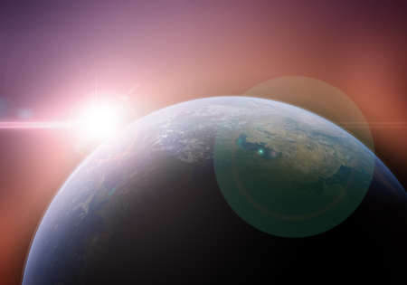Sunrise on planet earth using as background, 3d rendering Stok Fotoğraf