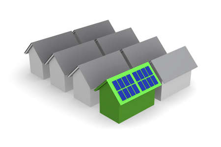 Green house with solar panels on the roof, sun power concept, 3d rendering Archivio Fotografico - 125857376