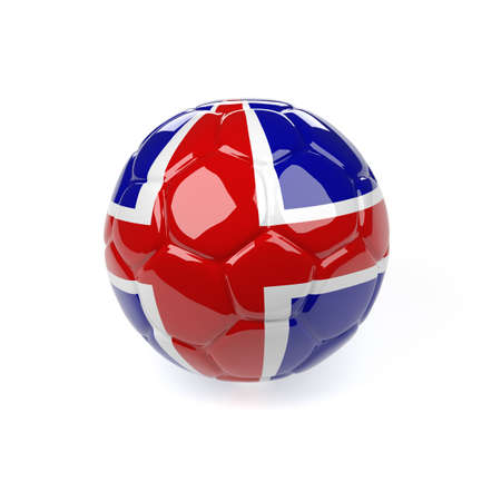 Soccer ball with the flag of Iceland on a white background, 3d rendering
