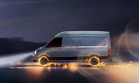 Szybki samochód dostawczy z płomieniami, koncepcja szybkiej dostawy