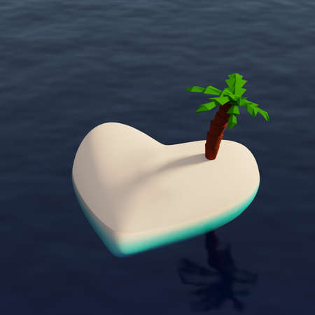 Heart shaped empty tropical island with a turquoise ocean, 3d rendering Фото со стока