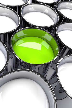 Many cans of paint with white paint and one with green paint, 3d rendering