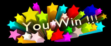 The words You win with colorful stars on a black background, 3d rendering