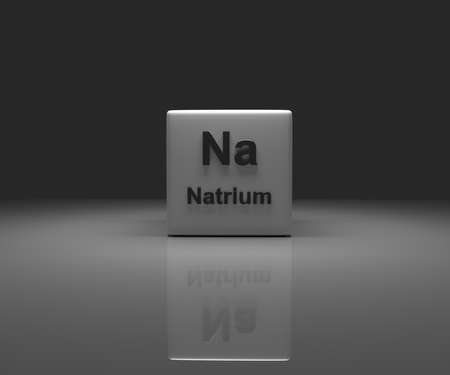 Cube with German sodium periodic system, 3d rendering