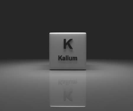 Cube with Kalium periodic system, 3d rendering Stock fotó