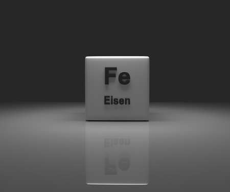 Cube with German ironperiodic system, 3d rendering