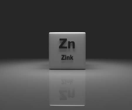 Cube with German Zinc periodic system, 3d rendering Stock fotó