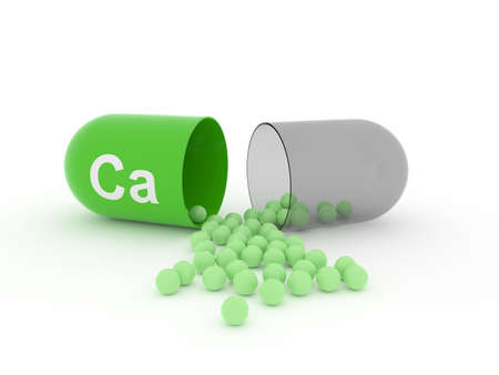 Open capsule with Ca calcium on a white table, food supplement concept, 3d rendering