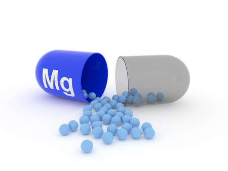Open capsule with Mg Magnesium on a white table, food supplement concept, 3d rendering