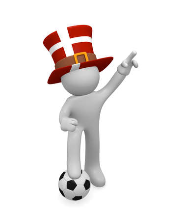 Small 3d soccer fan wearing a big hat with the Danish flag, 3d rendering