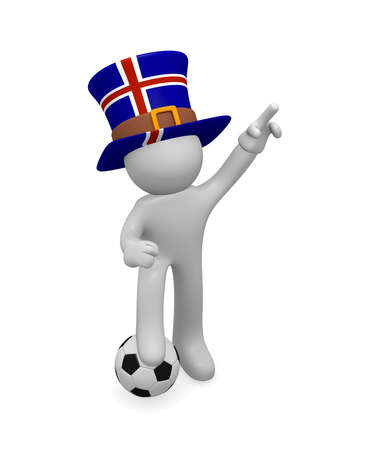 Small 3d soccer fan wearing a big hat with the flag of Iceland, 3d rendering