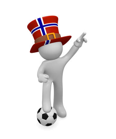 Small 3d soccer fan wearing a big hat with the flag of Norway, 3d rendering