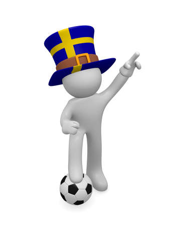 Small 3d soccer fan wearing a big hat with the flag of Sweden, 3d rendering Stock Photo
