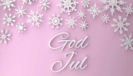 God Jul, Scandinavian Christmas background with snowflakes, 3d rendering