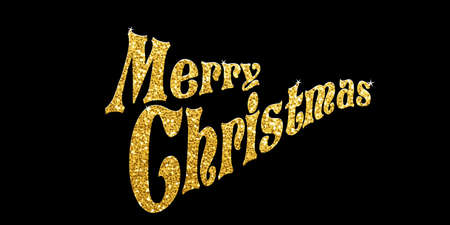 Golden glitter Merry Christmas on a black background, vector illustration Banco de Imagens - 132237639