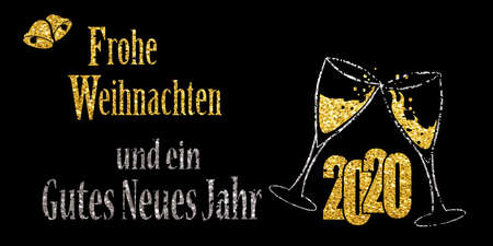 Two glasses of champagne and the German words Merry Christmas and a Happy New Year 2020 with glitter effect, vector illustration