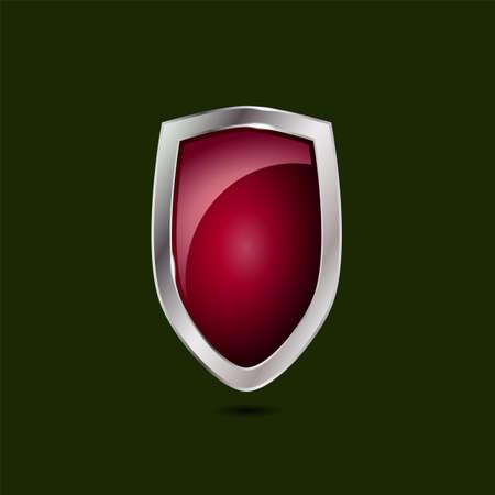Royal red protective shield on a dark green background, vector illustration Illustration