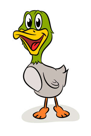 Funny cartoon duck on a white background, vector illustration