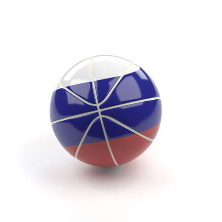 Glossy baketball with the flag of Russia, 3d rendering