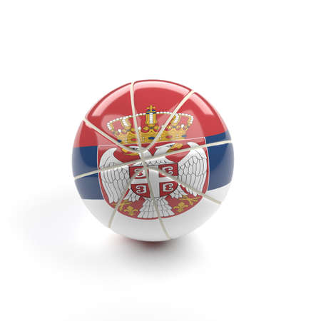 Glossy baketball with the flag of Serbian, 3d rendering