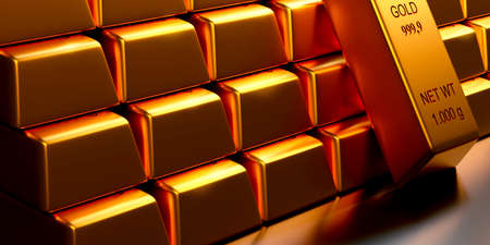 Stacked fine gold bars on a shiny steel background, 3d rendering, financial concept