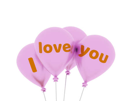 Four shiny pink balloons with the words I love you on a white background, 3d rendering