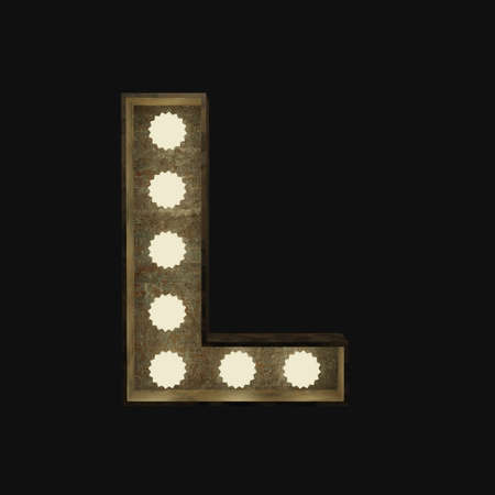 Metal letter L with small lamps on a dark background, 3d rendering
