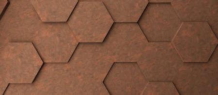 Abstract modern rusty metal honeycomb background, 3d rendering Reklamní fotografie