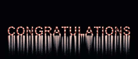 The word congratulations with reflections on a dark background, 3d rendering
