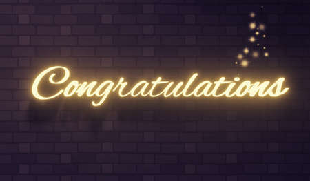 The word congratulations on a dark brick wall background, 3d rendering Фото со стока