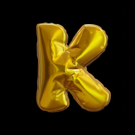 Golden Balloon Letter K, Realistic 3D Rendering on a black background