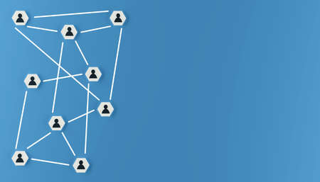 Abstract teamwork, network and community concept on a blue background with space for text, 3d rendering