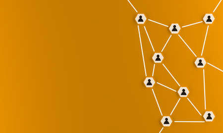 Abstract teamwork, network and community concept on an orange background with space for text, 3d rendering