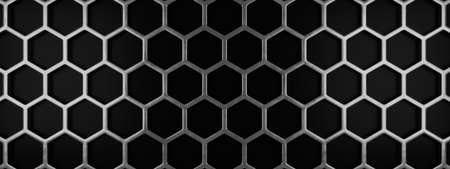 Metal honeycomb grid on a black background using as header