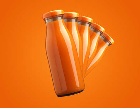 Five bottles with organic juice in a row on an orange background, healthy food concept