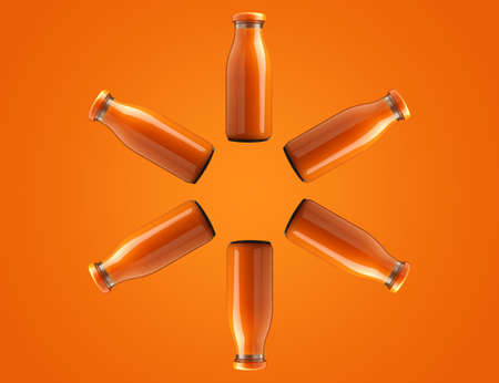 Six bottles with organic juice in a circle on an orange background, healthy food concept Banco de Imagens