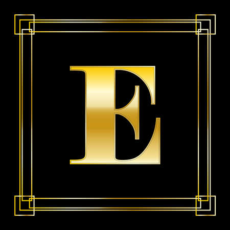 Letter E Logo Design With Square Ornament, luxury golden design, vector illustration