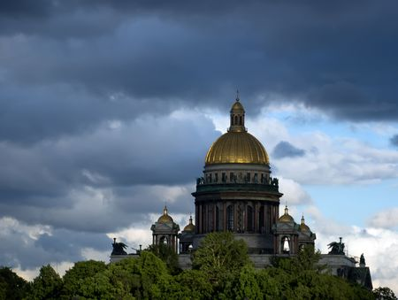 Domes of Cathedral Saint Isaak in Saint Petersburg, Russia photo