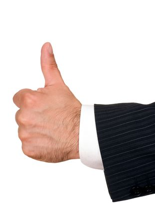 businessmans hand with thumbs up isolated on white Stock Photo
