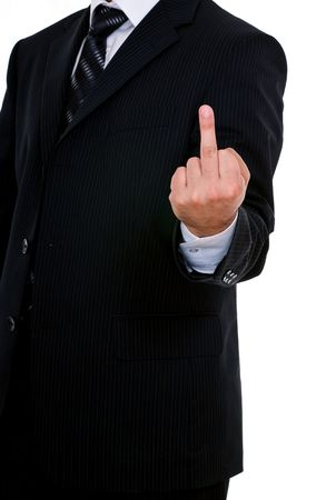 provoking: man dressed in black suit showing middle finger Stock Photo