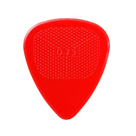 red ribbed guitar plectrum isolated on white Stock Photo