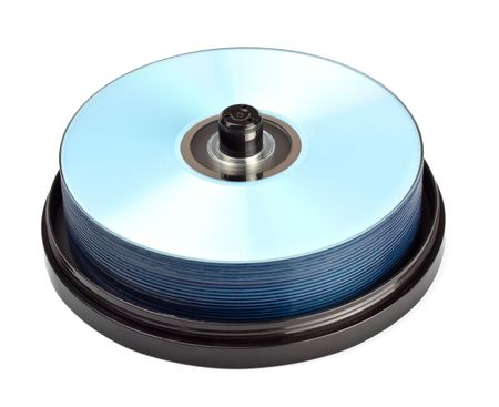 stack of dvd recordables isolated on white photo