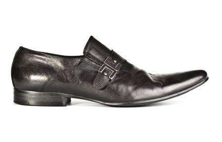 clasp feet: black male shoe isolated on white Stock Photo
