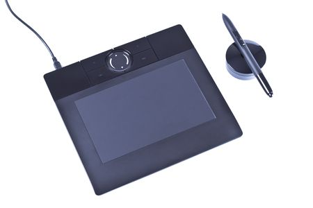 drawing tablet with pen isolated on white photo