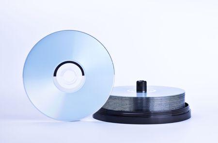 stack of printable discs on grey background photo