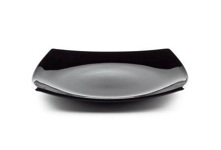 black dish: empty black dish isolated on white