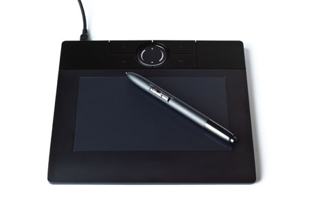 black drawing tablet with pen isolated on white photo