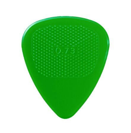 ribbed slab: green guitar plectrum isolated on white