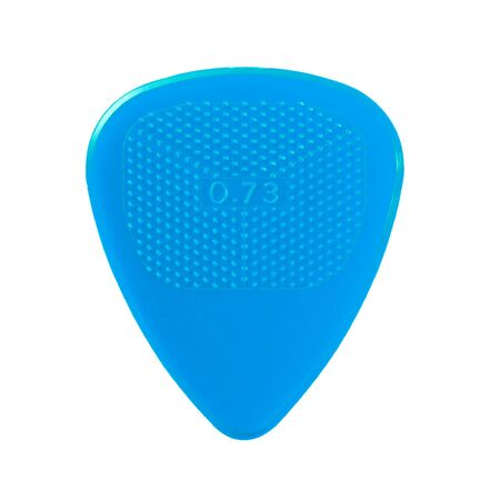 blue guitar plectrum isolated on white photo